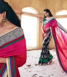 Buy Vishal Pink Black Georgette Designer Sarees Holiday33221 bollywood-saree online