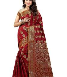 Buy Red woven banarasi saree with blouse banarasi-saree online