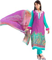 Buy AARYA Pure Lawn Cotton Pink and Turquoise Color Designer Dress Material Diwali gifts 20114 dress-material online