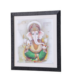 Buy Lord Ganesha 18 Inch X 18 Inch Abstract Art Print | Textured Fram... painting online