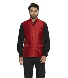 Buy maroon plain dupion silk nehru jacket gifts-for-boyfriend online