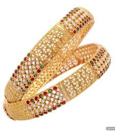 Buy ROYAL TRADIONAL ANTIQUE GOLDEN POTA STONE STUDDED HANDMADE BANGLE SET (2 PC) (PEARL RED GREEN) - PCB1025 bangles-and-bracelet online
