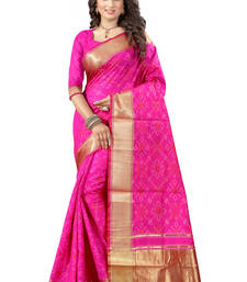 Buy Rani pink plain poly cotton saree with blouse tussar-silk-saree online