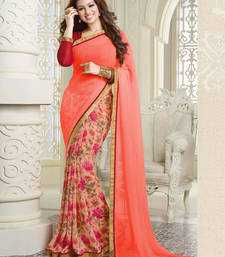 Buy peach chickoo and red printed georgette saree with blouse georgette-saree online