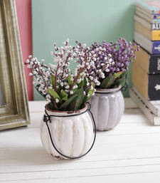 Buy Set of 2 Charming White & Purple 17 CM High Artificial Plants with hanging Vase artificial-flower online