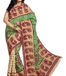 Buy Aria Green cotton printed summer collection saree ks340 jute-saree online
