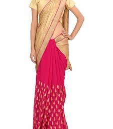 Buy RAAS SHIMMER, GEORGETTE Golden, Pink Sarees shimmer-saree online