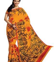 Buy Aria Orange cotton printed summer collection saree ks366 cotton-saree online
