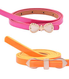 "Buy "" Orange and Pink Color"" Belt Combo For Womens gifts-for-sister online"