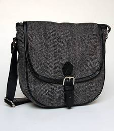 Buy Woolen Herringbone Black Sling sling-bag online