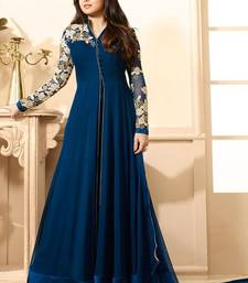 Buy Blue  Embroidered Gerogette Anarkali Semi-stitched Salwar Suit  dress-material online