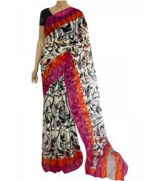 Buy Printed saree with magenta and orange border jute-saree online