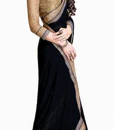 BLACK COLOR+CHIFFON FABRIC+PARTYWEAR STYLE+WITH UNSTITCHED RAW SILK BLOUSE PIECE+RACIEAL NET SLEEVES shop online