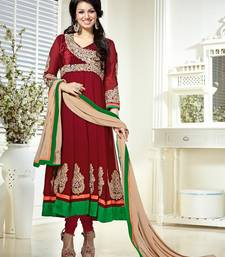 Buy Maroon Color Georgette Salwar kameez semi-stitched-salwar-suit online