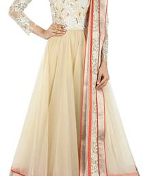 Buy Cream embroidered net semi stitched evening-wear-dresses evening-wear-dress online