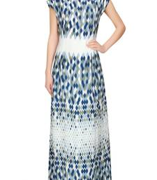 Buy Blue and White printed Pure Satin semi stitched evening-wear-dresses evening-wear-dress online
