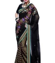 Buy Black Viscose and Net Saree With Blouse viscose-saree online