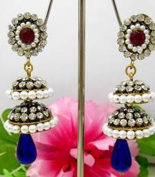 Buy Victorian Double Step Tokri Earring Pink Blues stud online
