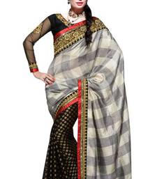 Buy Black and Grey Cotton and Viscose  Net Saree With Blouse viscose-saree online