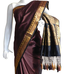 Buy Brown With Black & Zari Border banarasi Silk Saree with Fringes banarasi-silk-saree online