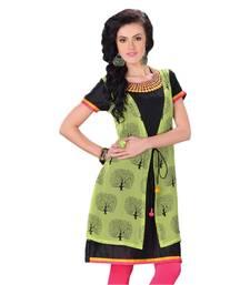 Buy Hypnotex Green+Black Georgette Kurti  Mausam5003 kurtas-and-kurti online