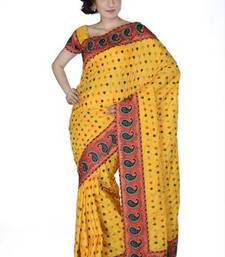 Buy Traditional Mustard Silk  Saree with Blouse silk-saree online
