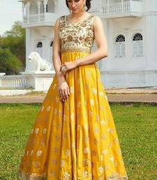Buy Yellow embroidered art silk semi stitched salwar with dupatta anarkali-salwar-kameez online