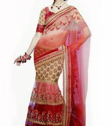 Buy Shaded Off White and Maroon Net Lehenga Style Saree with blouse  net-saree online
