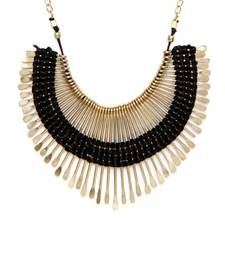 Buy Gold Bold Spikes and Black thread choker necklace Necklace online