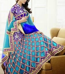 Buy Sky Blue Shade Satin and Fancy Fabric Lehenga Saree with Blouse  satin-saree online