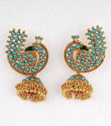Buy Turquoise Stone Peacock Jumka Earrings stud online