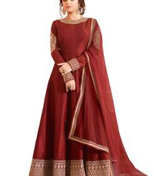 Buy Brown embroidered bhagalpuri cotton semi stitched salwar with dupatta eid-special-salwar-kameez online
