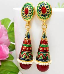 Buy Meenakari Pendant Cone Jhumar Earring Green Maroon Blues stud online
