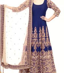 Buy Blue embroidered art silk unstitched salwar with dupatta anarkali-salwar-kameez online