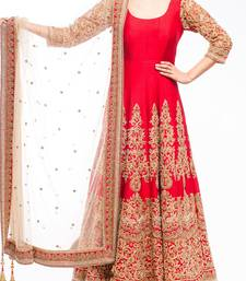 Buy Red embroidered art silk semi stitched salwar with dupatta anarkali-salwar-kameez online