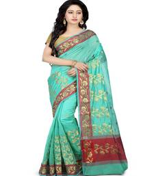 Buy Sea green woven cotton saree with blouse cotton-saree online