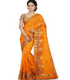 Buy Gold woven cotton saree with blouse cotton-saree online