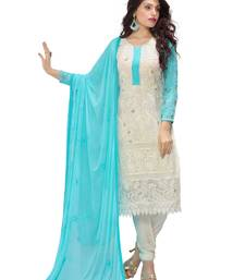 Buy White embroidered chiffon unstitched salwar with dupatta dress-material online