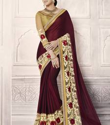 Buy Dark maroon embroidered chiffon saree with blouse chiffon-saree online