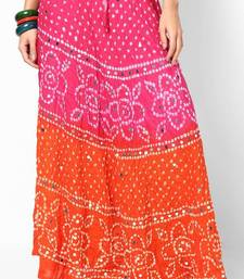 orange pink bandhej hand work skirt shop online