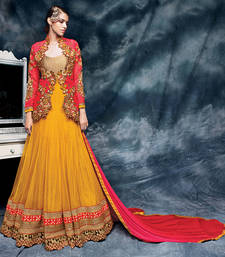 Buy Mustard embroidered net semi stitched salwar with dupatta wedding-salwar-kameez online