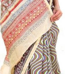 Buy Handloom Printed Chanderi Saree-Green&Orange chanderi-saree online