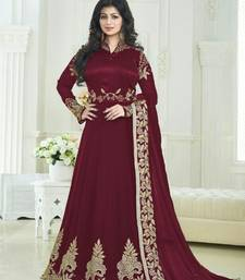 Buy Maroon embroidered georgette semi stitched salwar with dupatta ayesha-takia-salwar-kameez online