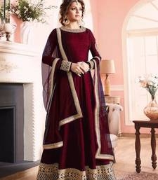 Buy Maroon embroidered art silk semi stitched salwar with dupatta eid-special-salwar-kameez online
