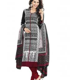 Buy Black printed crepe and cotton unstitched salwar with dupatta dress-material online