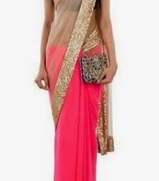 Buy Striking Neon Pink half half Saree georgette-saree online