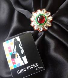 Buy Flower Shaped Kundan Adjustable Ring with Red Stone Ring online