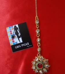 Buy Kundan Maang Tika - Ruby & Emerald hair-accessory online