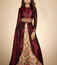 Buy Maroon embroidered silk semi stitched salwar with dupatta wedding-salwar-kameez online