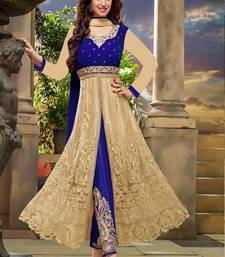 Buy Beige embroidered net semi stitched salwar with dupatta eid-special-salwar-kameez online